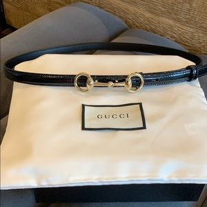 Gucci Belt - Black Patent with Gold Horsebit